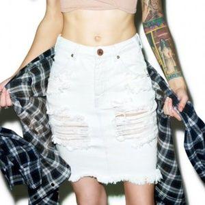 One Teaspoon 2020 Distressed Denim Skirt White